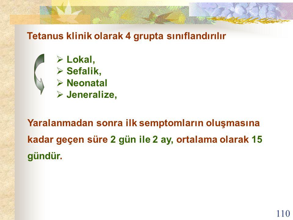110 Tetanus klinik olarak 4 grupta sınıflandırılır  Lokal,  Sefalik,  Neonatal  Jeneralize, Yaralanmadan sonra ilk semptomların oluşmasına kadar g