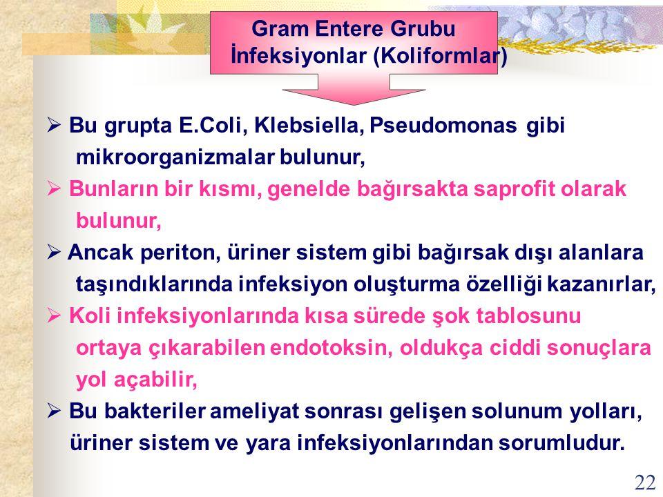 22  Bu grupta E.Coli, Klebsiella, Pseudomonas gibi mikroorganizmalar bulunur,  Bunların bir kısmı, genelde bağırsakta saprofit olarak bulunur,  Anc