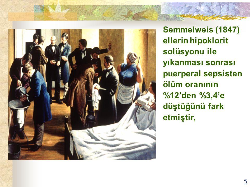 5 Semmelweis (1847) ellerin hipoklorit solüsyonu ile yıkanması sonrası puerperal sepsisten ölüm oranının %12'den %3,4'e düştüğünü fark etmiştir,