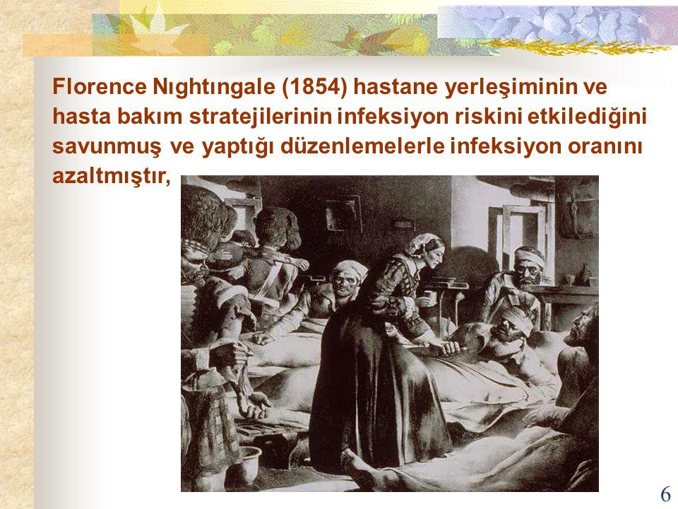 6 Florence Nıghtıngale (1854) hastane yerleşiminin ve hasta bakım stratejilerinin infeksiyon riskini etkilediğini savunmuş ve yaptığı düzenlemelerle i