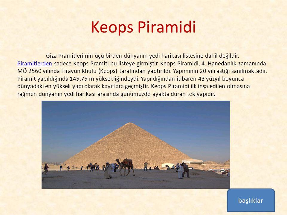 Keops Piramidi Giza Pramitleri'nin üçü birden dünyanın yedi harikası listesine dahil değildir. Piramitlerden sadece Keops Pramiti bu listeye girmiştir