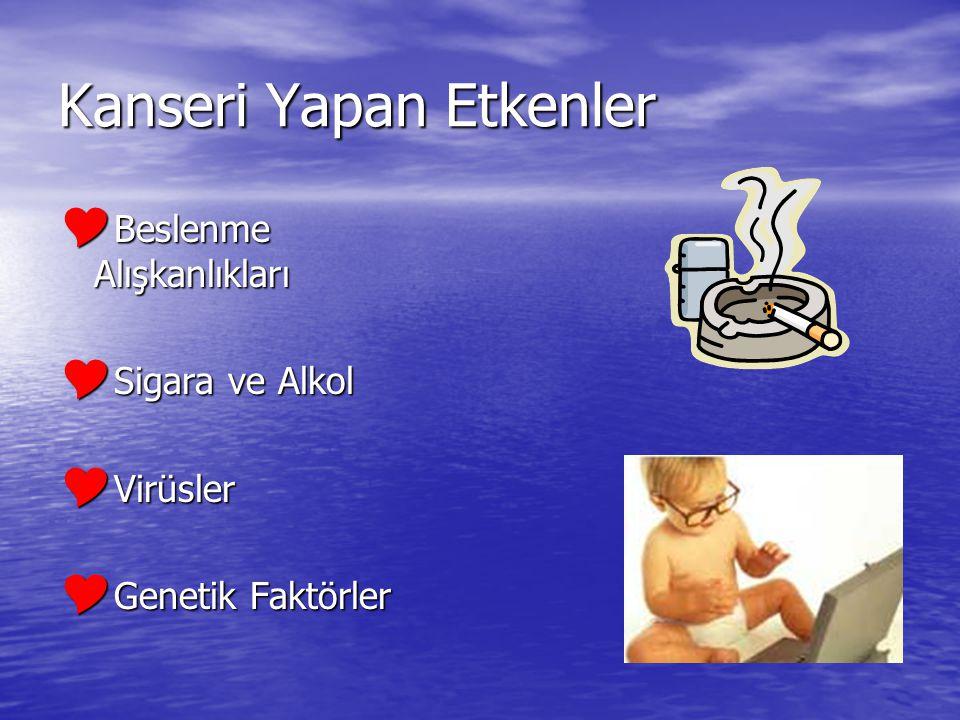 Kanseri Yapan Etkenler  Beslenme Alışkanlıkları  Sigara ve Alkol  Virüsler  Genetik Faktörler