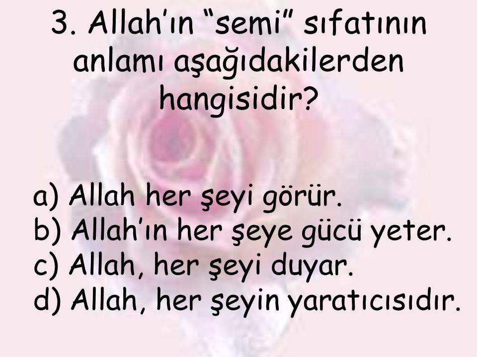 """3. Allah'ın """"semi"""" sıfatının anlamı aşağıdakilerden hangisidir? a) Allah her şeyi görür. b) Allah'ın her şeye gücü yeter. c) Allah, her şeyi duyar. d)"""