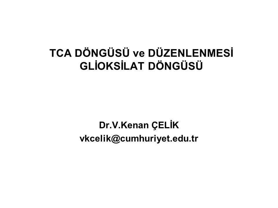 TCA DÖNGÜSÜ ve DÜZENLENMESİ GLİOKSİLAT DÖNGÜSÜ Dr.V.Kenan ÇELİK vkcelik@cumhuriyet.edu.tr