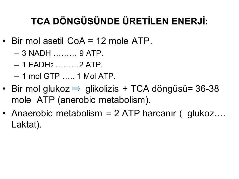 TCA DÖNGÜSÜNDE ÜRETİLEN ENERJİ: Bir mol asetil CoA = 12 mole ATP. –3 NADH ……… 9 ATP. –1 FADH 2 ………2 ATP. –1 mol GTP ….. 1 Mol ATP. Bir mol glukoz glik