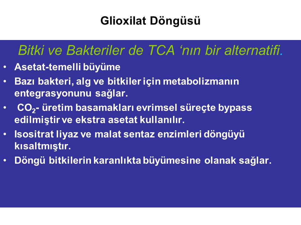 Glioxilat Döngüsü Bitki ve Bakteriler de TCA 'nın bir alternatifi. Asetat-temelli büyüme Bazı bakteri, alg ve bitkiler için metabolizmanın entegrasyon