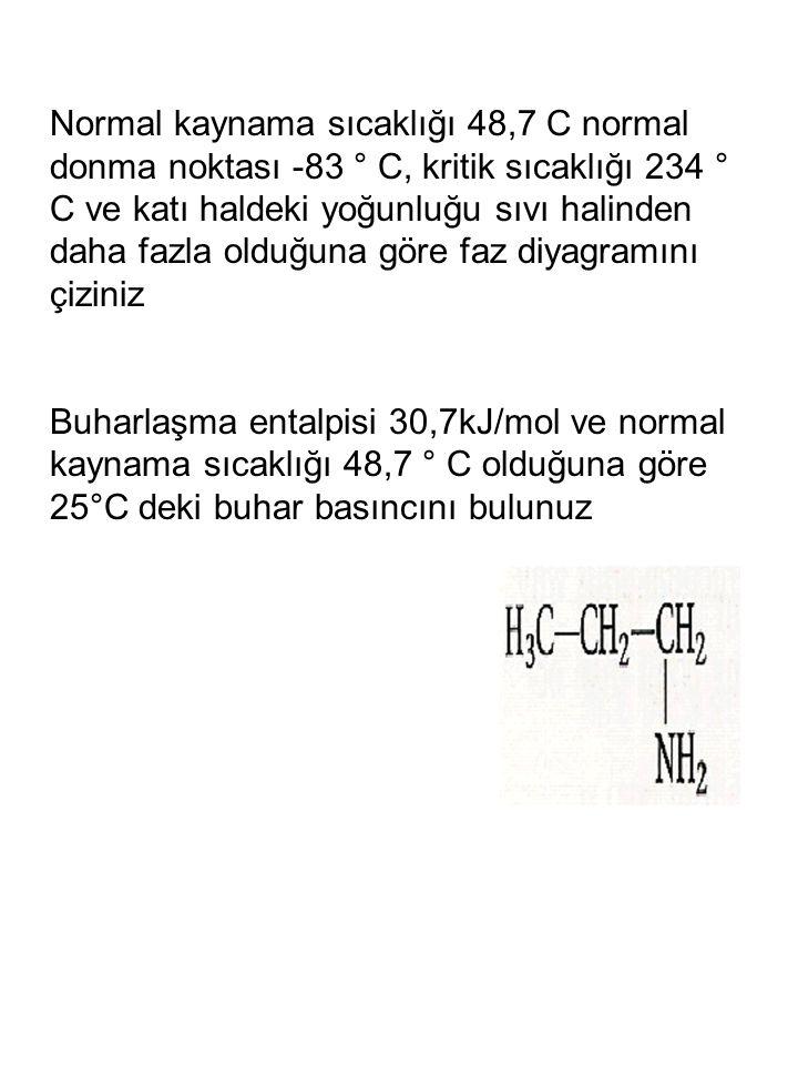 Normal kaynama sıcaklığı 48,7 C normal donma noktası -83 ° C, kritik sıcaklığı 234 ° C ve katı haldeki yoğunluğu sıvı halinden daha fazla olduğuna gör