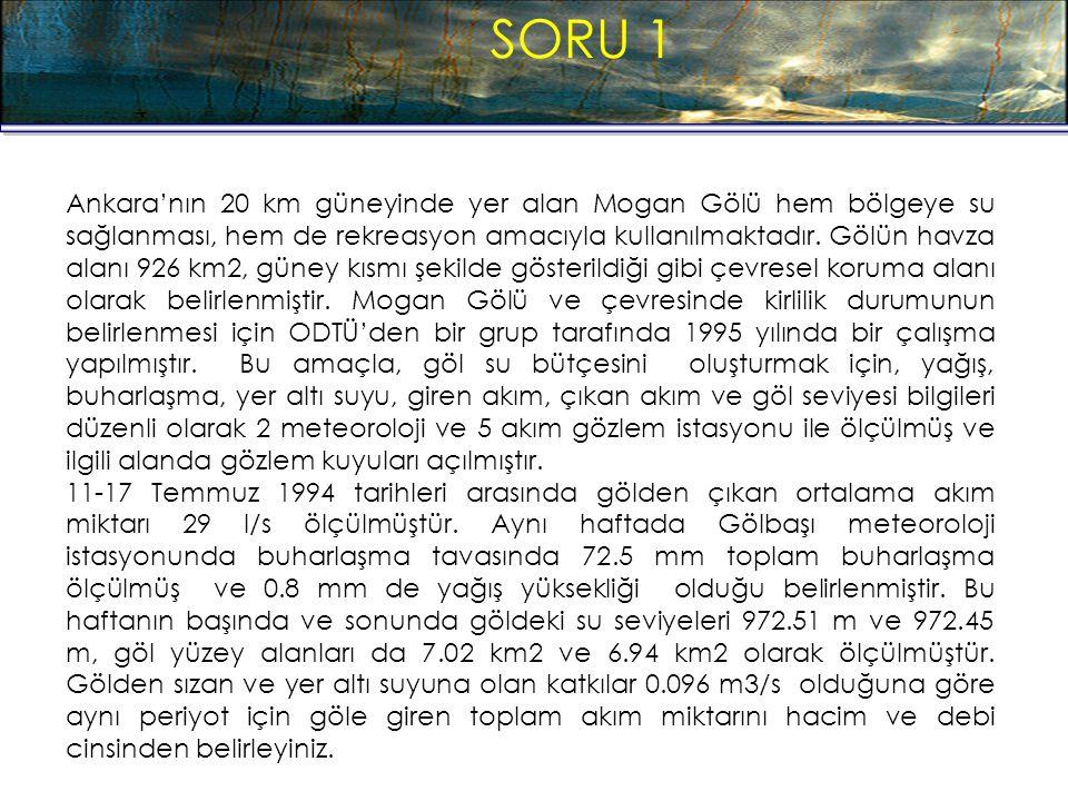 SORU 1 Ankara'nın 20 km güneyinde yer alan Mogan Gölü hem bölgeye su sağlanması, hem de rekreasyon amacıyla kullanılmaktadır. Gölün havza alanı 926 km