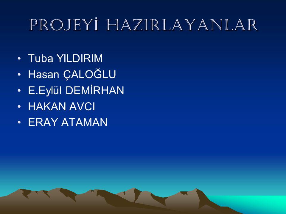 PROJEY İ HAZIRLAYANLAR Tuba YILDIRIM Hasan ÇALOĞLU E.Eylül DEMİRHAN HAKAN AVCI ERAY ATAMAN