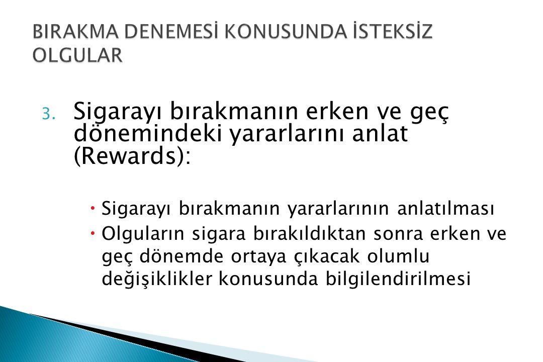 3. Sigarayı bırakmanın erken ve geç dönemindeki yararlarını anlat (Rewards):  Sigarayı bırakmanın yararlarının anlatılması  Olguların sigara bırakıl