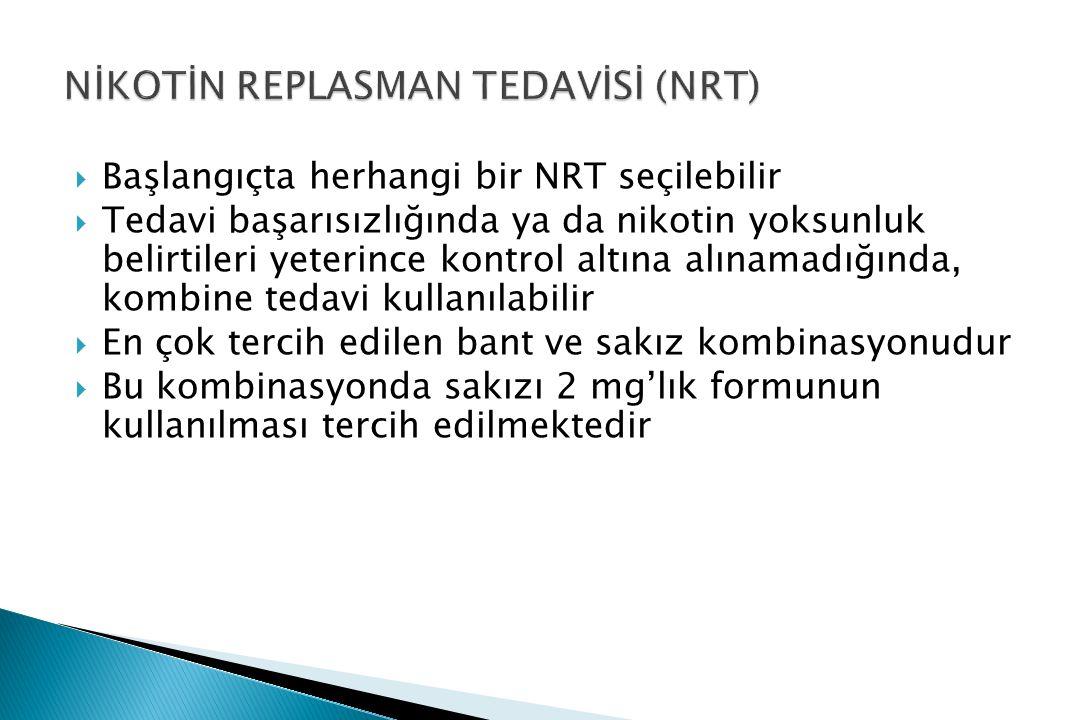  Başlangıçta herhangi bir NRT seçilebilir  Tedavi başarısızlığında ya da nikotin yoksunluk belirtileri yeterince kontrol altına alınamadığında, kombine tedavi kullanılabilir  En çok tercih edilen bant ve sakız kombinasyonudur  Bu kombinasyonda sakızı 2 mg'lık formunun kullanılması tercih edilmektedir
