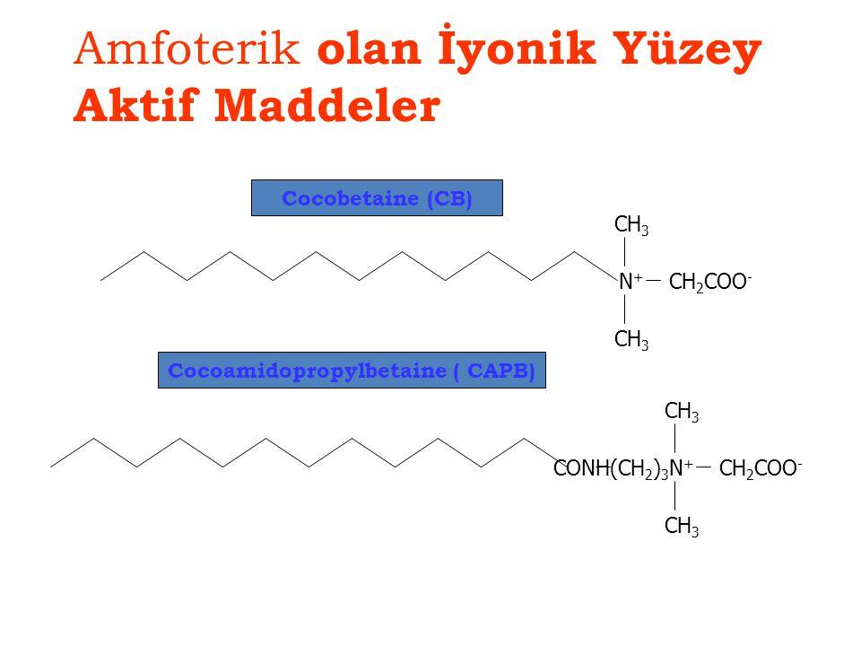 Amfoterik olan İyonik Yüzey Aktif Maddeler N+N+ CH 3 CH 2 COO - CONH(CH 2 ) 3 N+N+ CH 3 CH 2 COO - Cocobetaine (CB) Cocoamidopropylbetaine ( CAPB)