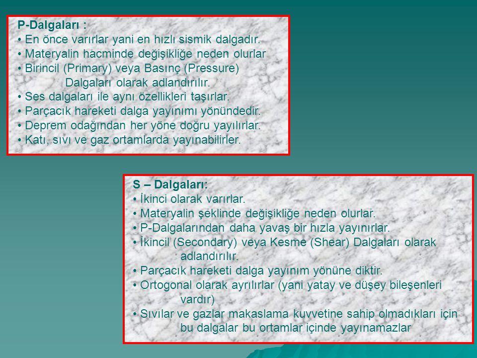 P-Dalgaları : En önce varırlar yani en hızlı sismik dalgadır. Materyalin hacminde değişikliğe neden olurlar Birincil (Primary) veya Basınç (Pressure)