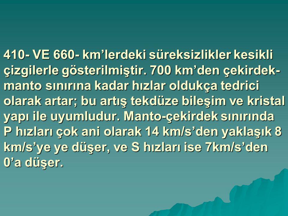 410- VE 660- km'lerdeki süreksizlikler kesikli çizgilerle gösterilmiştir. 700 km'den çekirdek- manto sınırına kadar hızlar oldukça tedrici olarak arta