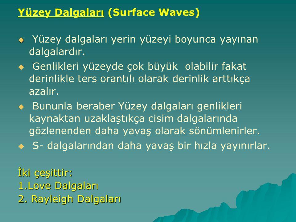 Yüzey Dalgaları (Surface Waves)   Yüzey dalgaları yerin yüzeyi boyunca yayınan dalgalardır.   Genlikleri yüzeyde çok büyük olabilir fakat derinlik