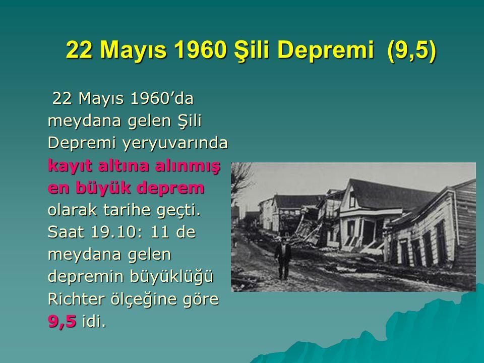 22 Mayıs 1960 Şili Depremi (9,5) 22 Mayıs 1960'da meydana gelen Şili Depremi yeryuvarında kayıt altına alınmış en büyük deprem olarak tarihe geçti.
