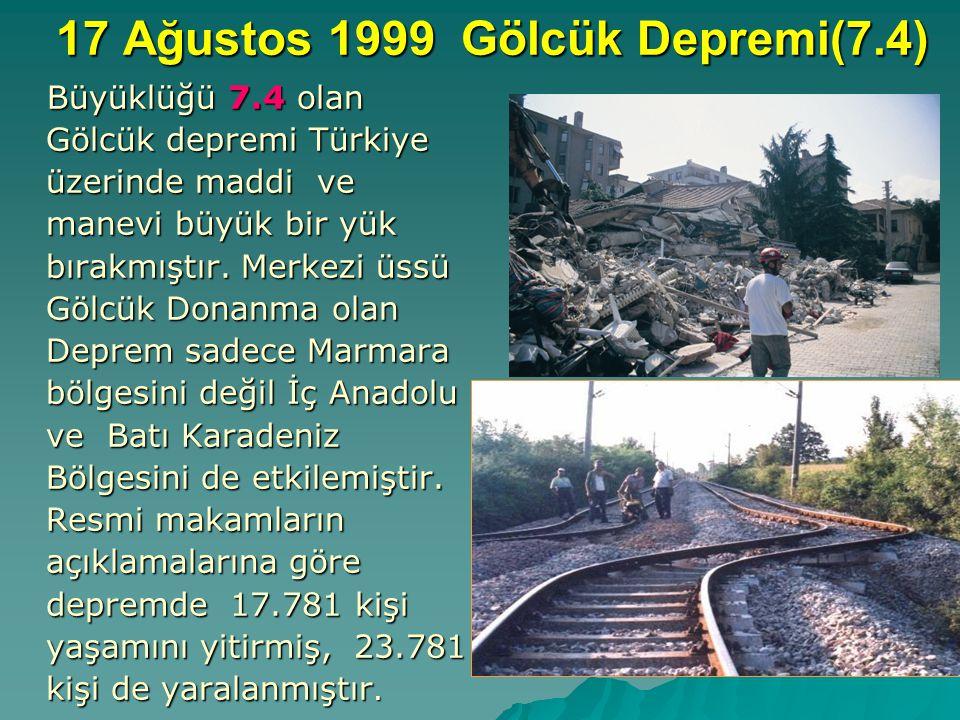 17 Ağustos 1999 Gölcük Depremi(7.4) Büyüklüğü 7.4 olan Gölcük depremi Türkiye üzerinde maddi ve manevi büyük bir yük bırakmıştır.