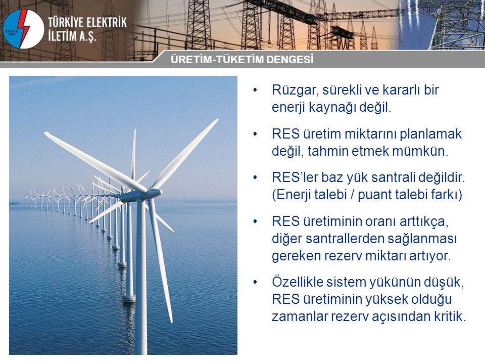 Rüzgar, sürekli ve kararlı bir enerji kaynağı değil. RES üretim miktarını planlamak değil, tahmin etmek mümkün. RES'ler baz yük santrali değildir. (En