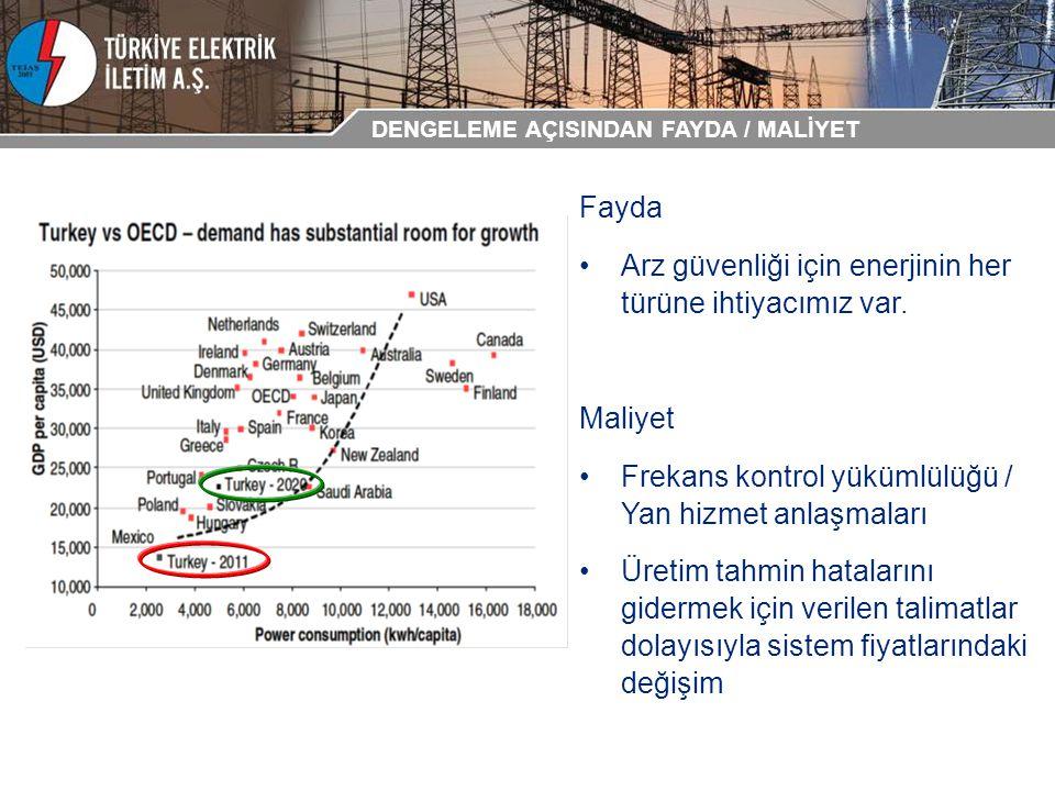 Fayda Arz güvenliği için enerjinin her türüne ihtiyacımız var. Maliyet Frekans kontrol yükümlülüğü / Yan hizmet anlaşmaları Üretim tahmin hatalarını g