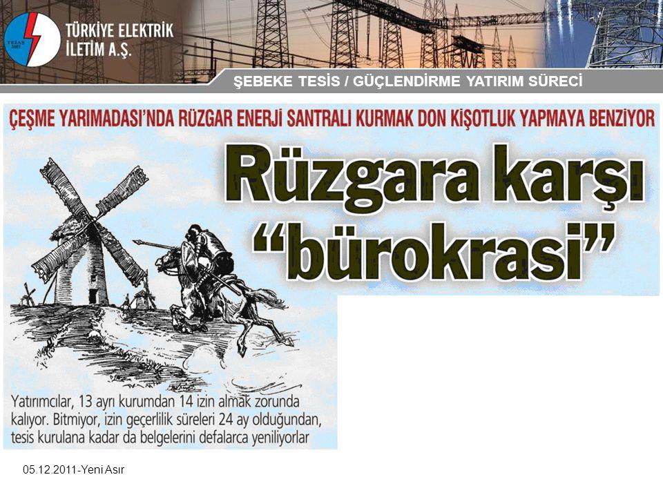 05.12.2011-Yeni Asır ŞEBEKE TESİS / GÜÇLENDİRME YATIRIM SÜRECİ