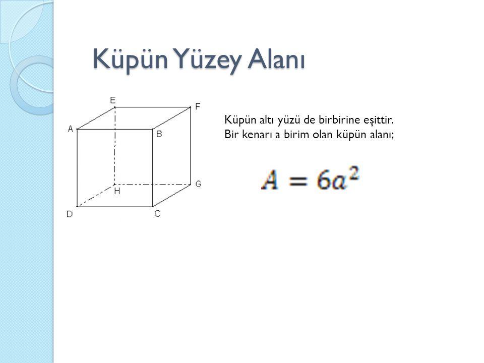 Küpün altı yüzü de birbirine eşittir. Bir kenarı a birim olan küpün alanı; Küpün Yüzey Alanı
