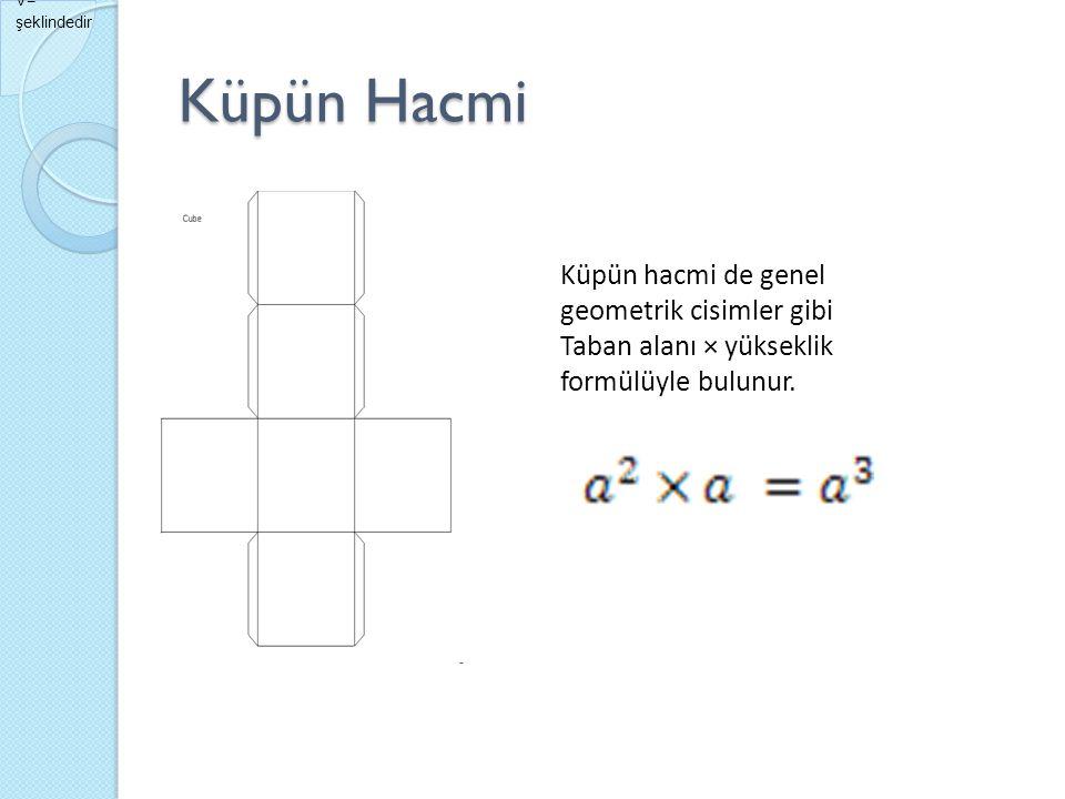 Küpün Hacmi Küpün hacmi de genel geometrik cisimler gibi Taban alanı × yükseklik formülüyle bulunur. V= şeklindedir