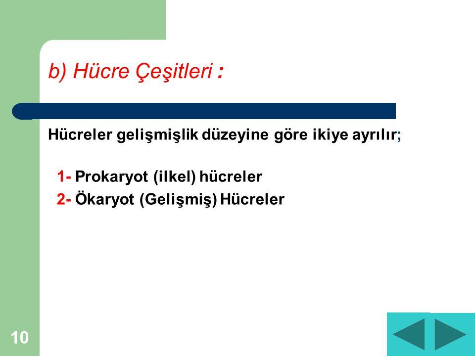 10 b) Hücre Çeşitleri : Hücreler gelişmişlik düzeyine göre ikiye ayrılır; 1- Prokaryot (ilkel) hücreler 2- Ökaryot (Gelişmiş) Hücreler