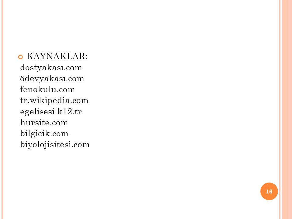 KAYNAKLAR: dostyakası.com ödevyakası.com fenokulu.com tr.wikipedia.com egelisesi.k12.tr hursite.com bilgicik.com biyolojisitesi.com 16