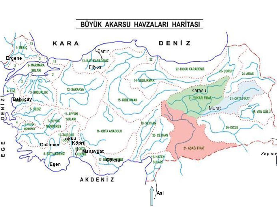 Bartın Filyos Bakırçay Dalaman Eşen Aksu Köprü Manavgat Göksu Asi Karasu Murat Zap suyu Ergene