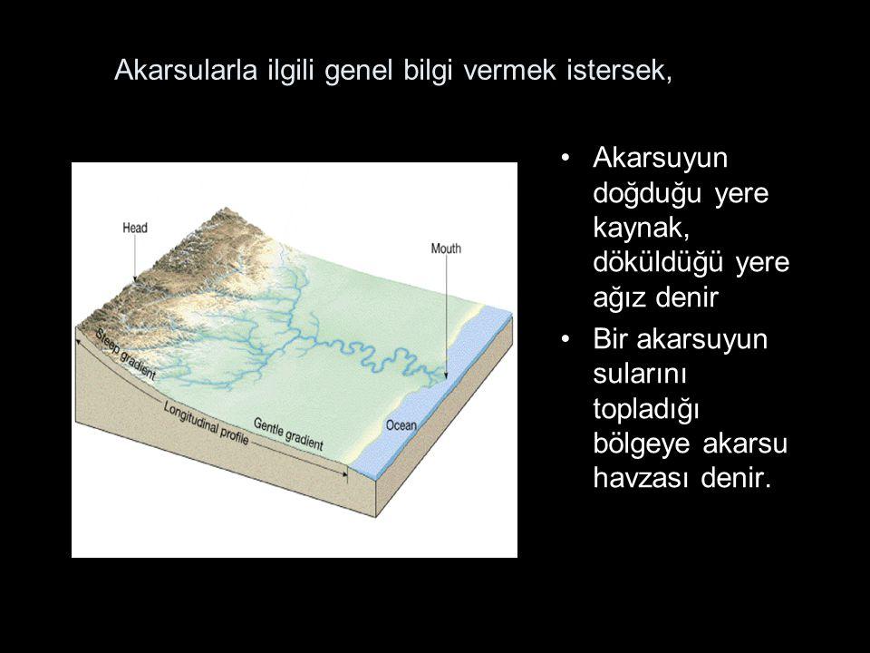 Akarsularla ilgili genel bilgi vermek istersek, Akarsuyun doğduğu yere kaynak, döküldüğü yere ağız denir Bir akarsuyun sularını topladığı bölgeye akarsu havzası denir.