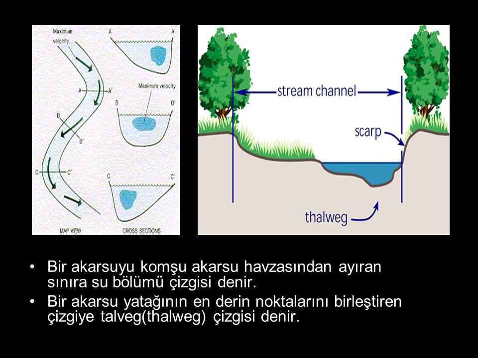 Bir akarsuyu komşu akarsu havzasından ayıran sınıra su bölümü çizgisi denir.