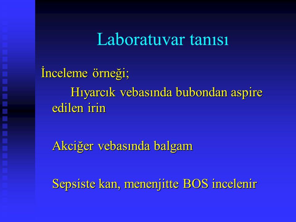 Laboratuvar tanısı İnceleme örneği; Hıyarcık vebasında bubondan aspire edilen irin Akciğer vebasında balgam Sepsiste kan, menenjitte BOS incelenir