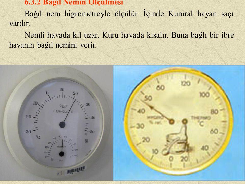 6.3.2 Bağıl Nemin Ölçülmesi Bağıl nem higrometreyle ölçülür.