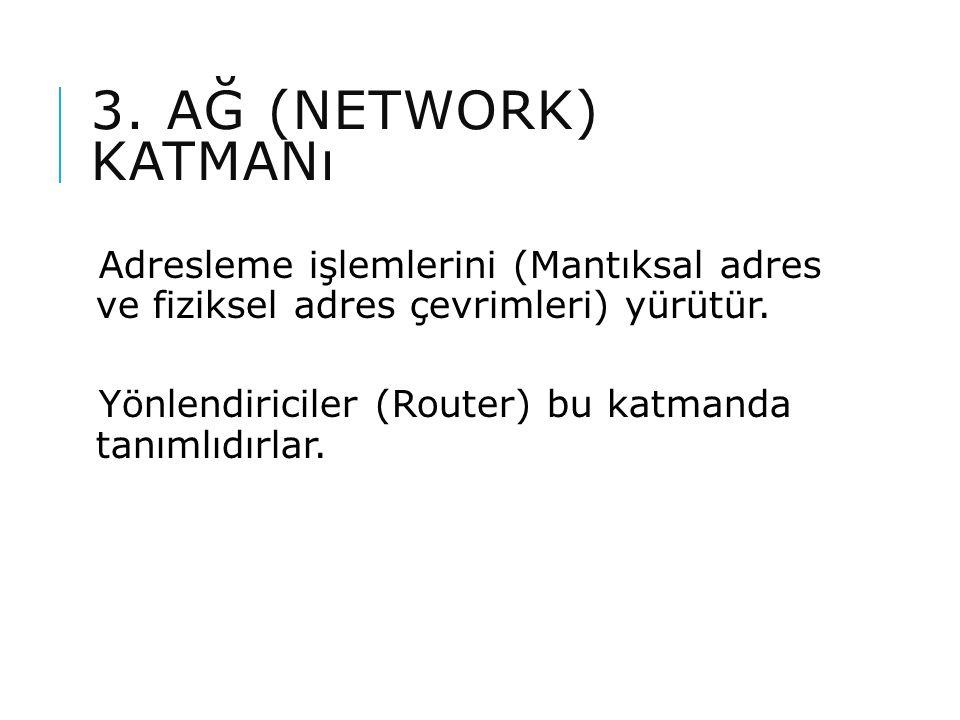3. AĞ (NETWORK) KATMANı Adresleme işlemlerini (Mantıksal adres ve fiziksel adres çevrimleri) yürütür. Yönlendiriciler (Router) bu katmanda tanımlıdırl