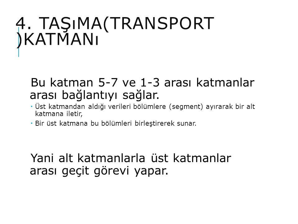 4. TAŞıMA(TRANSPORT )KATMANı Bu katman 5-7 ve 1-3 arası katmanlar arası bağlantıyı sağlar.  Üst katmandan aldığı verileri bölümlere (segment) ayırara