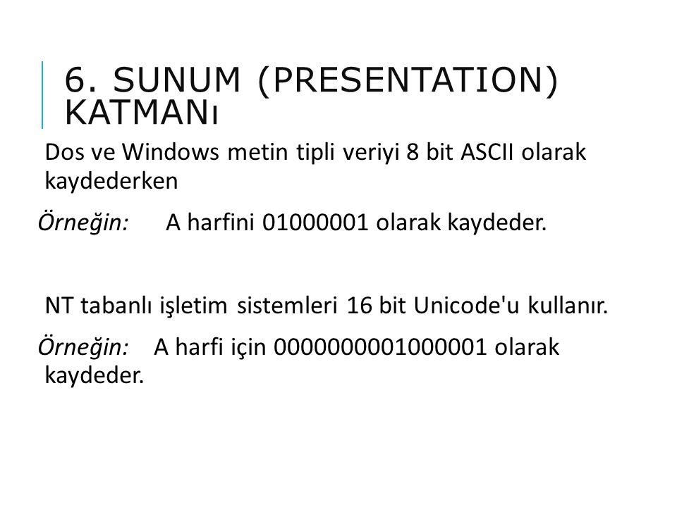 6. SUNUM (PRESENTATION) KATMANı Dos ve Windows metin tipli veriyi 8 bit ASCII olarak kaydederken Örneğin: A harfini 01000001 olarak kaydeder. NT taban
