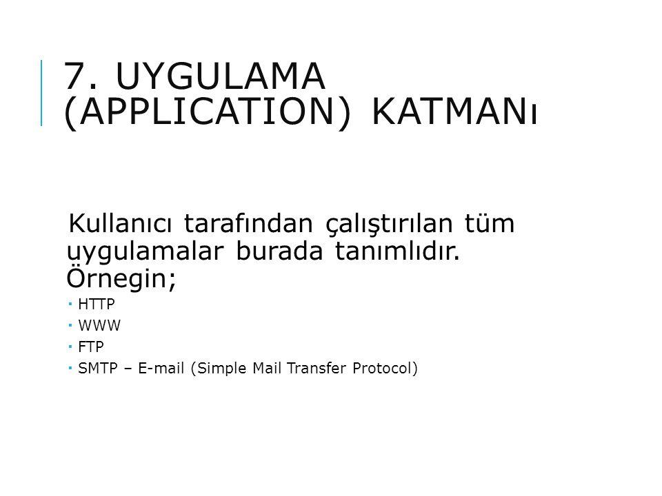 7. UYGULAMA (APPLICATION) KATMANı Kullanıcı tarafından çalıştırılan tüm uygulamalar burada tanımlıdır. Örnegin;  HTTP  WWW  FTP  SMTP – E-mail (Si
