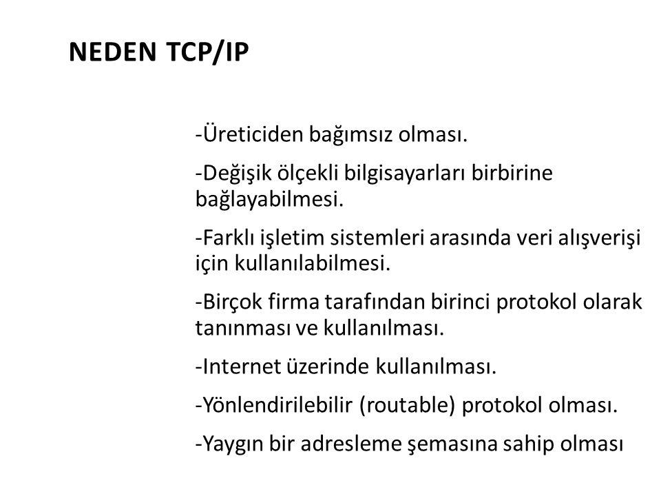 NEDEN TCP/IP -Üreticiden bağımsız olması. -Değişik ölçekli bilgisayarları birbirine bağlayabilmesi. -Farklı işletim sistemleri arasında veri alışveriş