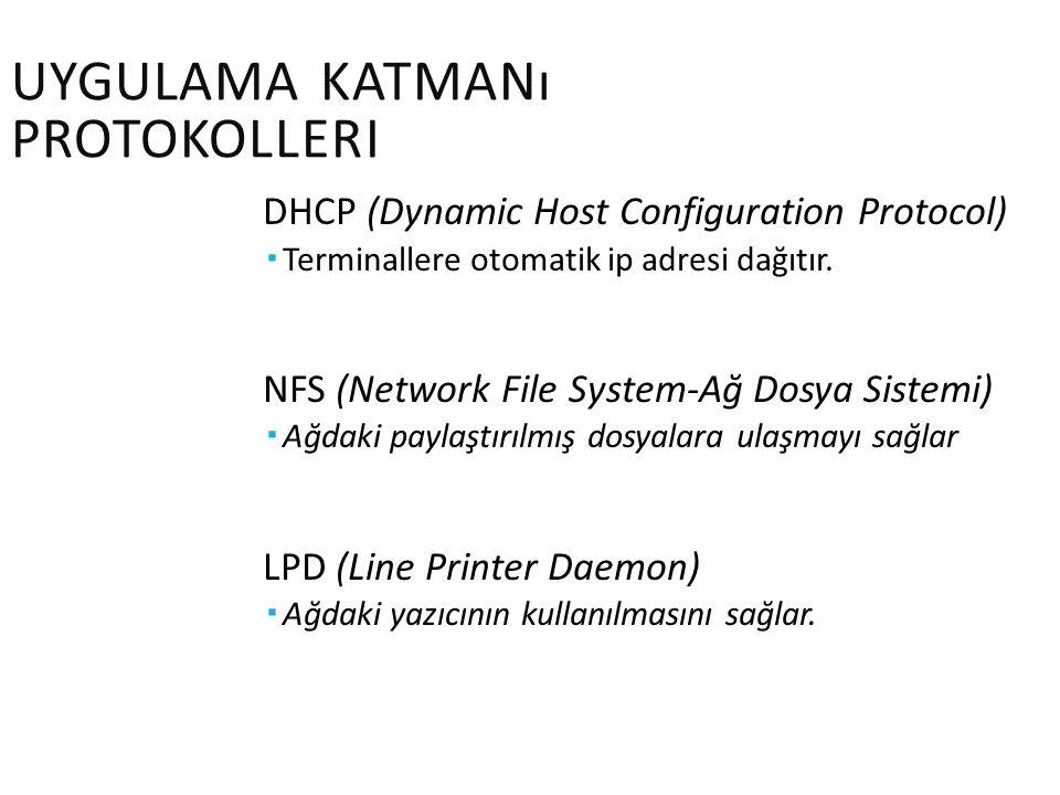 UYGULAMA KATMANı PROTOKOLLERI DHCP (Dynamic Host Configuration Protocol)  Terminallere otomatik ip adresi dağıtır. NFS (Network File System-Ağ Dosya