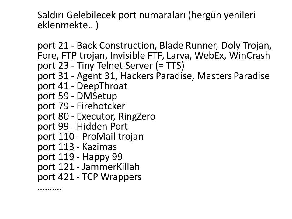 Saldırı Gelebilecek port numaraları (hergün yenileri eklenmekte.. ) port 21 - Back Construction, Blade Runner, Doly Trojan, Fore, FTP trojan, Invisibl