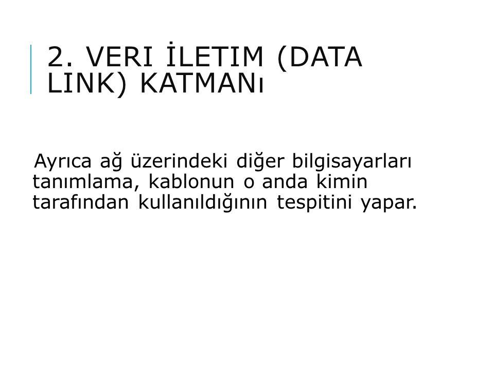 2. VERI İLETIM (DATA LINK) KATMANı Ayrıca ağ üzerindeki diğer bilgisayarları tanımlama, kablonun o anda kimin tarafından kullanıldığının tespitini yap