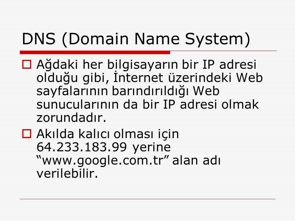 DNS (Domain Name System)  Ağdaki her bilgisayarın bir IP adresi olduğu gibi, İnternet üzerindeki Web sayfalarının barındırıldığı Web sunucularının da