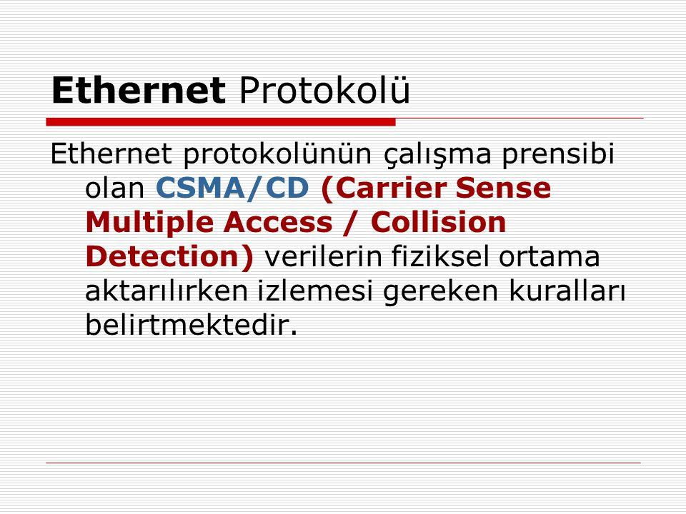 Ethernet Protokolü Ethernet protokolünün çalışma prensibi olan CSMA/CD (Carrier Sense Multiple Access / Collision Detection) verilerin fiziksel ortama