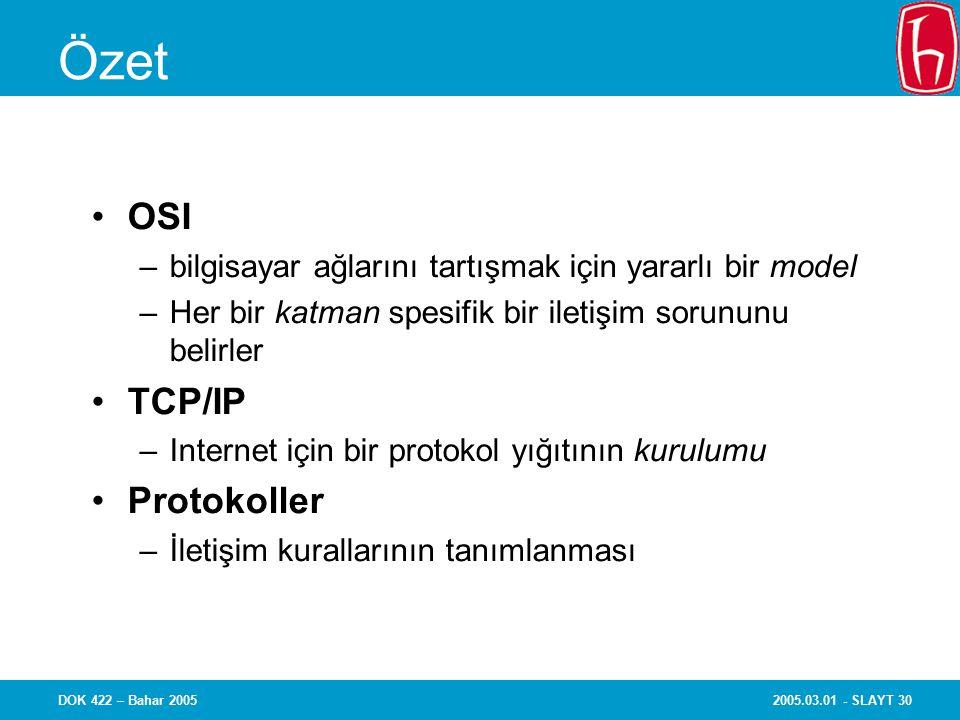 2005.03.01 - SLAYT 30DOK 422 – Bahar 2005 Özet OSI –bilgisayar ağlarını tartışmak için yararlı bir model –Her bir katman spesifik bir iletişim sorununu belirler TCP/IP –Internet için bir protokol yığıtının kurulumu Protokoller –İletişim kurallarının tanımlanması
