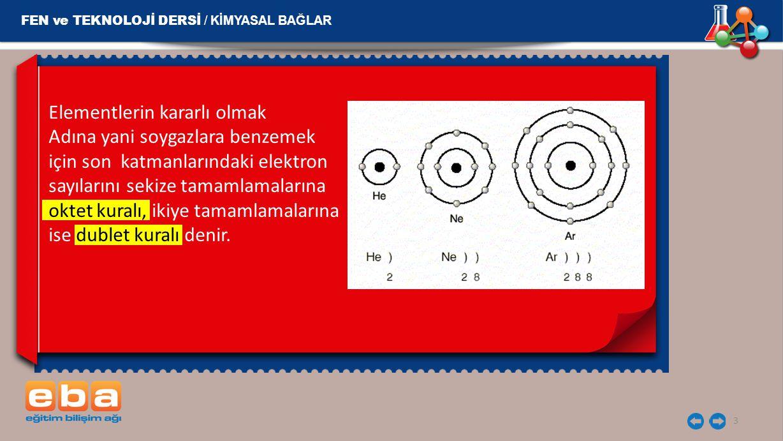 3 Elementlerin kararlı olmak Adına yani soygazlara benzemek için son katmanlarındaki elektron sayılarını sekize tamamlamalarına oktet kuralı, ikiye ta