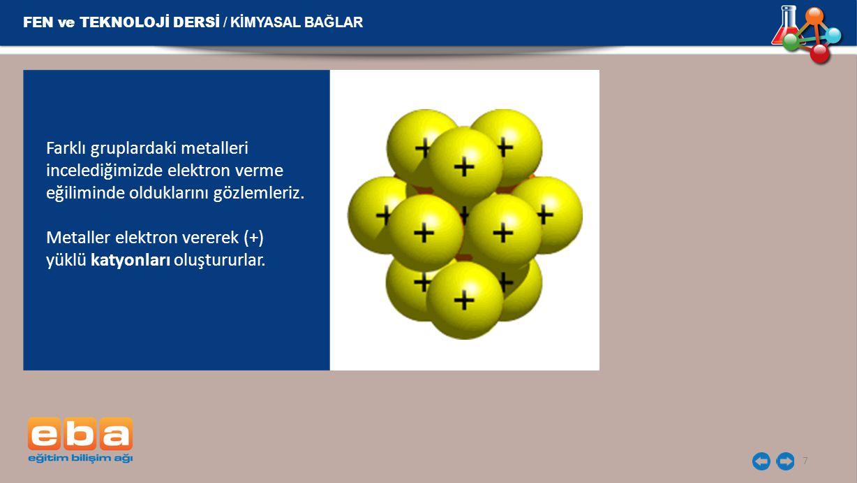7 Farklı gruplardaki metalleri incelediğimizde elektron verme eğiliminde olduklarını gözlemleriz. Metaller elektron vererek (+) yüklü katyonları oluşt