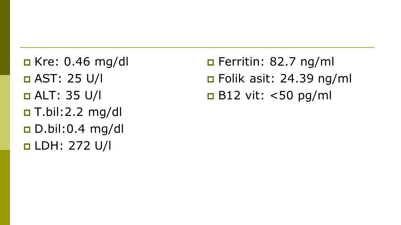  Kre: 0.46 mg/dl  AST: 25 U/l  ALT: 35 U/l  T.bil:2.2 mg/dl  D.bil:0.4 mg/dl  LDH: 272 U/l  Ferritin: 82.7 ng/ml  Folik asit: 24.39 ng/ml  B1