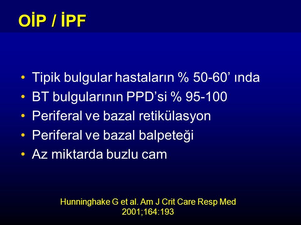 Tipik bulgular hastaların % 50-60' ında BT bulgularının PPD'si % 95-100 Periferal ve bazal retikülasyon Periferal ve bazal balpeteği Az miktarda buzlu cam OİP / İPF Hunninghake G et al.