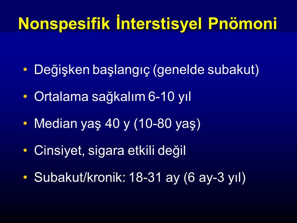 Değişken başlangıç (genelde subakut) Ortalama sağkalım 6-10 yıl Median yaş 40 y (10-80 yaş) Cinsiyet, sigara etkili değil Subakut/kronik: 18-31 ay (6 ay-3 yıl) Nonspesifik İnterstisyel Pnömoni
