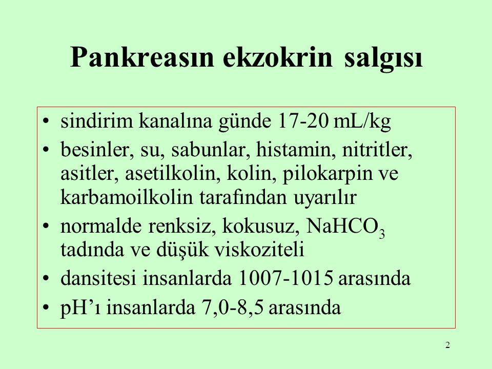 2 Pankreasın ekzokrin salgısı sindirim kanalına günde 17-20 mL/kg besinler, su, sabunlar, histamin, nitritler, asitler, asetilkolin, kolin, pilokarpin